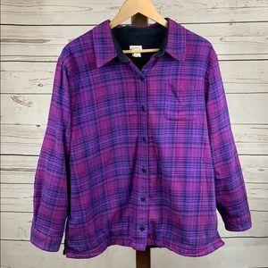 LL Bean Fleece Lined Purple Plaid Flannel Shirt